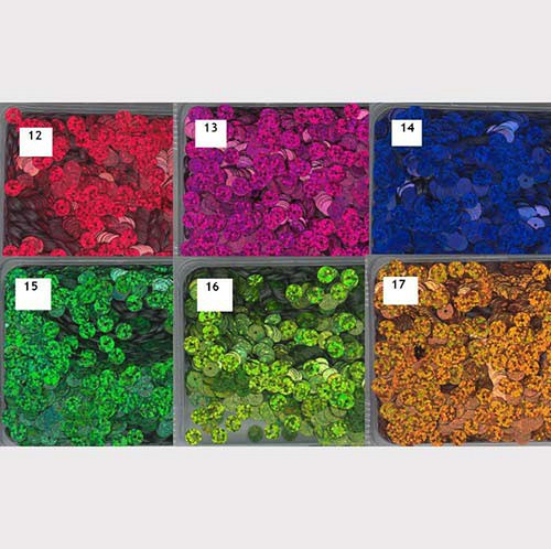 Flitry 6 mm  -mix 6 barev - třpytivé - bal. 6x5g