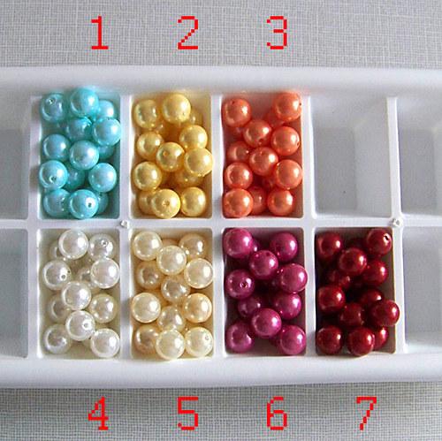 perly voskové/ žlutá - tmavě č.2/ 9,5mm/ 12ks
