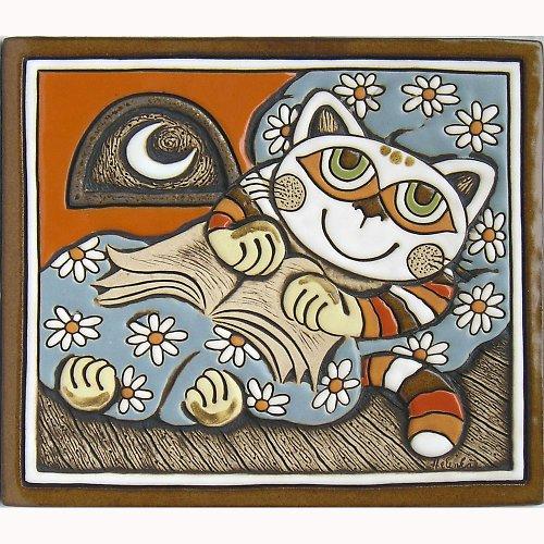 Keramický obrázek - Kočka v peřině K-111-POM-N