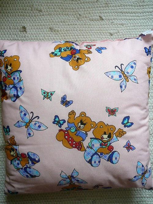 Dětský polštářek - růžoví medvídci