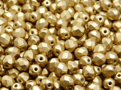 50ks Broušená kulička 6mm Bronz sv. zlatý matný