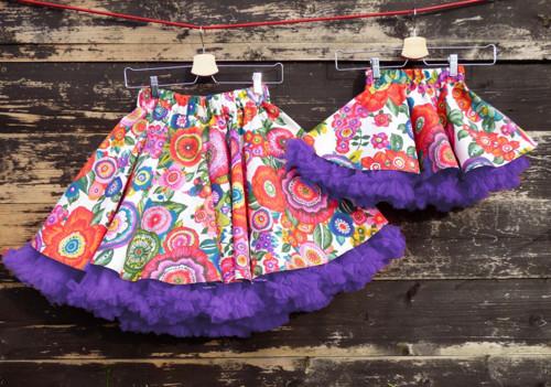 FuFu sukně duo - květy s fialovou spodničkou