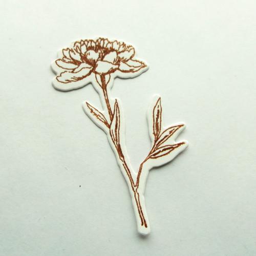 Otisk razítka - výsek - květina hnědá