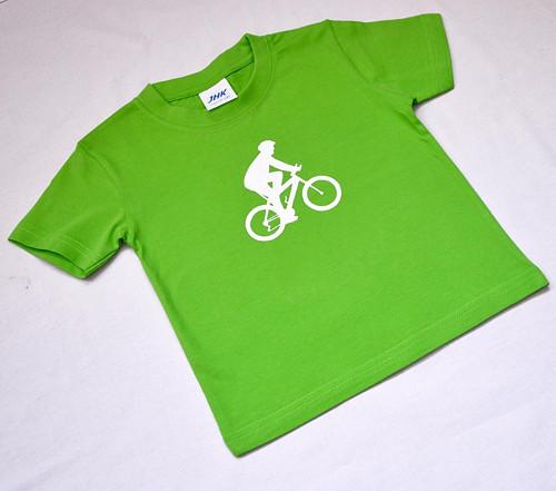 Zelené dětské tričko s cyklistou (2 roky)