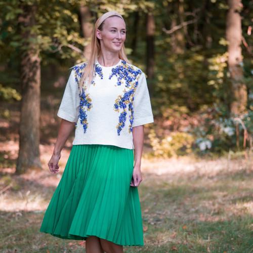 Zelená plisovaná sukně