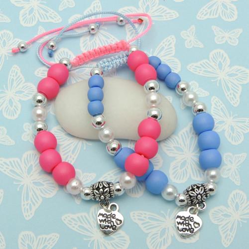 Náramky Sada - Pink and Blue - Posuvný uzel