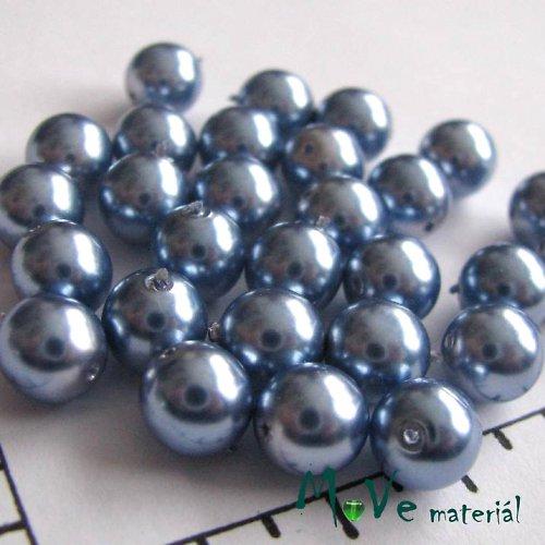 České voskové perle stříbromodré8mm 28ks(cca20g)