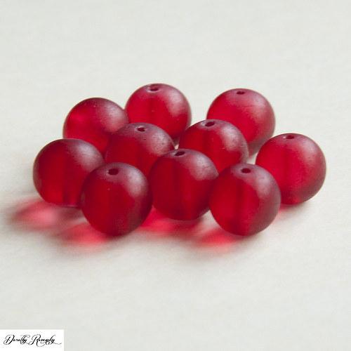 sklenené červené korálky - 10 ks