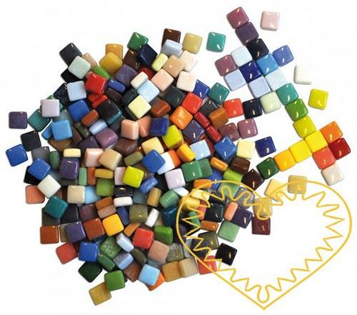 Barevná keramická mozaika 12x12 mm, 300 ks, 570 g