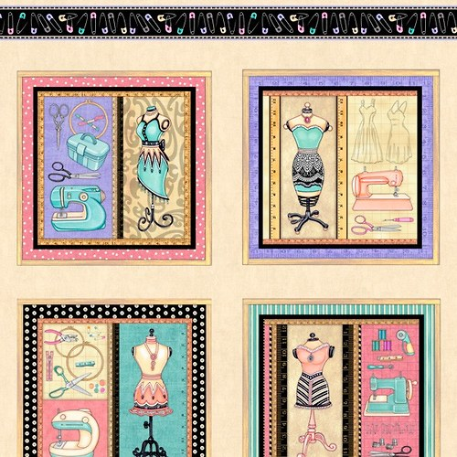 Panel Little Miss Sew and Sew, 60 x 110 cm