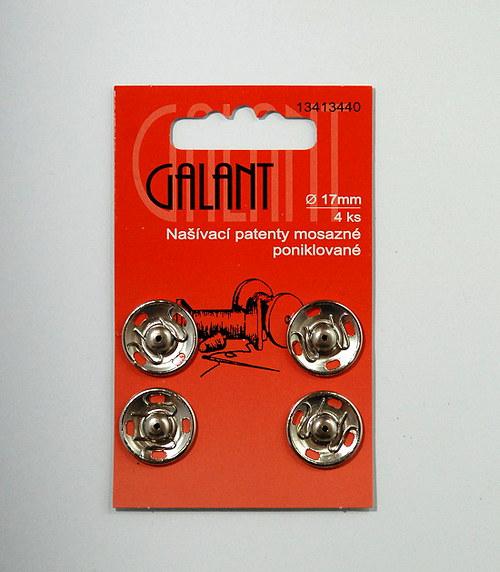Našívací patenty mosazné 17mm, nikl, 4ks