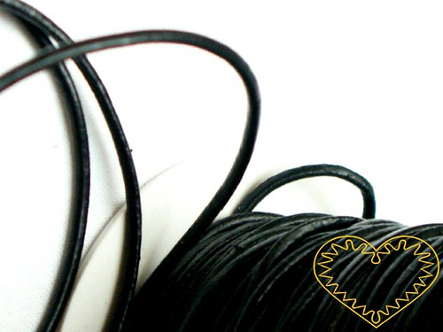 Šňůra koženková černá - Ø 2 mm