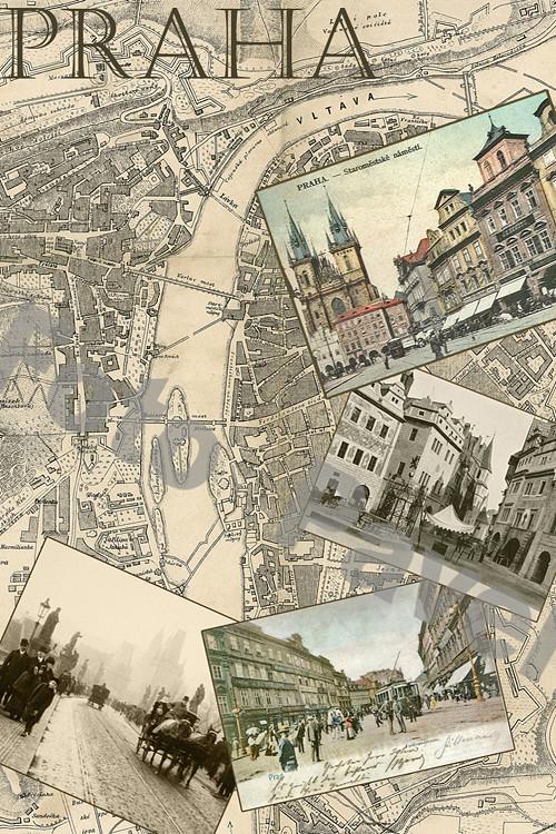 Vintage motiv - Praha-mapa-1900