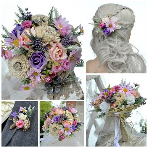 Svatební kytice Karline, korsáž a spona do vlasů
