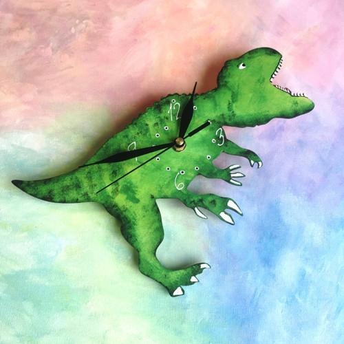 Dřevěné nástěnné hodiny - Tyrannosaurus Rex