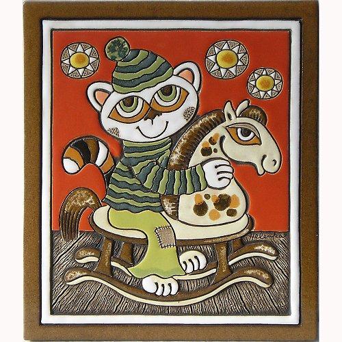 Keramický obrázek - Kočka a houpací koník K-148-L
