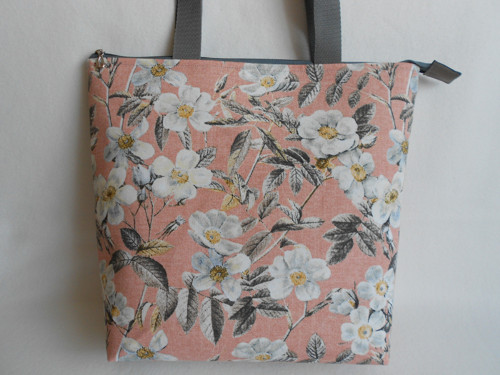 kabelka - zip  - šípkové růže