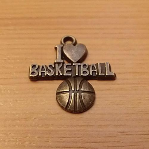 Miluji basketbal -  starobronz - 22mm x 20 - 1 kus