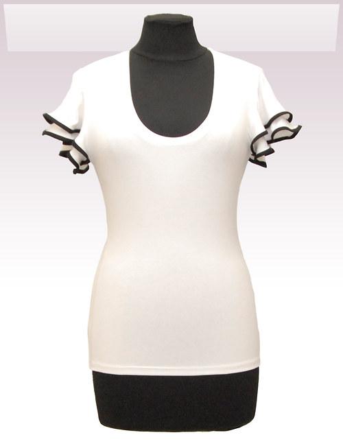 Bílé tričko belaroma volánkové rukávy s černým lem