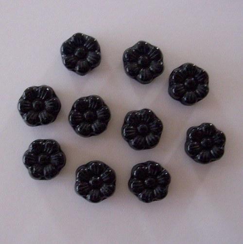 Mačkaná perle - kytička černá
