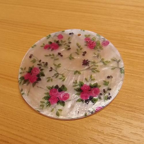 Perleťová placka  50mm - zdobená