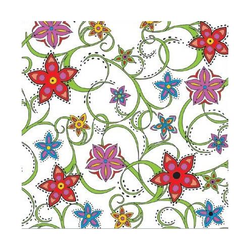 Ubrousek na decoupage bílý s barevnými květy