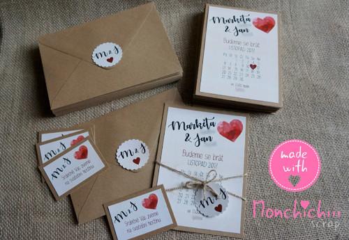 Svatební oznámení včetně obálky, kolečka - 38