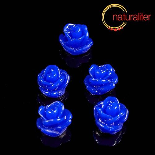 Růžička - kabošon z pryskyřice 7mm tm.modrá 10ks