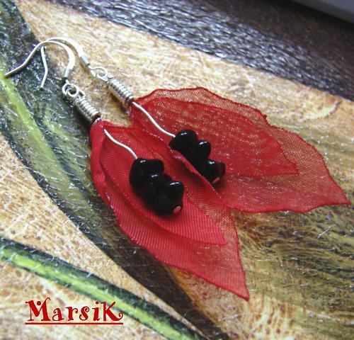 Lístečkové náušnice - červená a černá