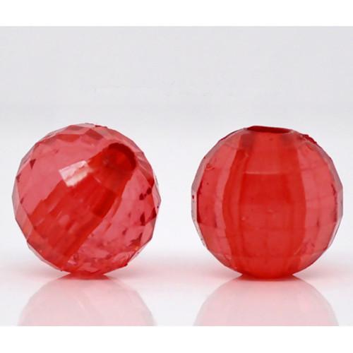 korálky kuličky/ akryl/ červené/ 8mm/ 100ks