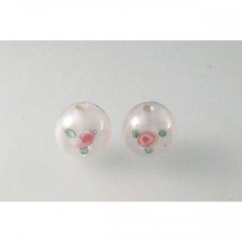 ručně navíjená perle - dvoufleková - kulatá bílá 8mm 2ks