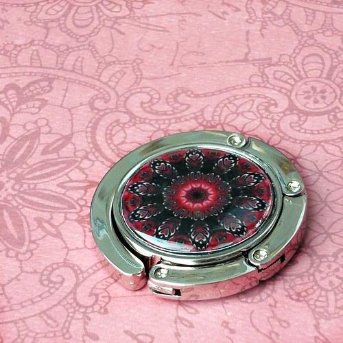 Háček na kabelku - červenočerný