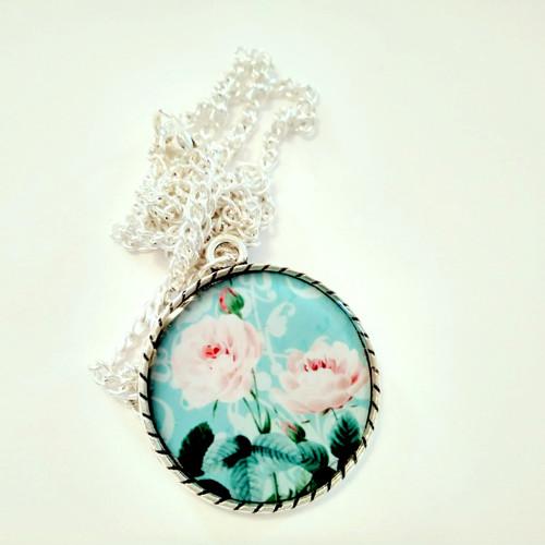Vintage medailon dlouhý S růžičkou