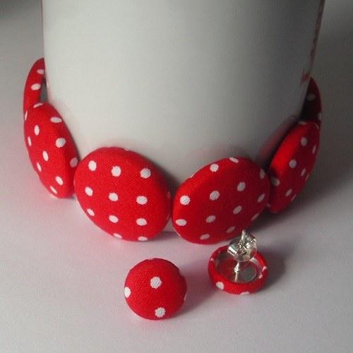 Buttonkový set červený puntík