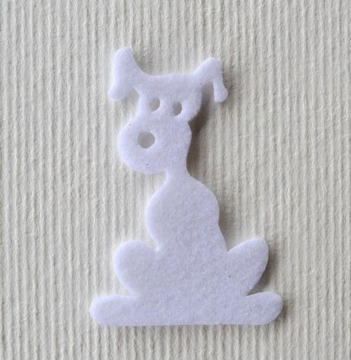 Výsek z plsti -  pes bílý