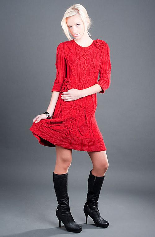 Popis - návod na pletené šaty Lady in red