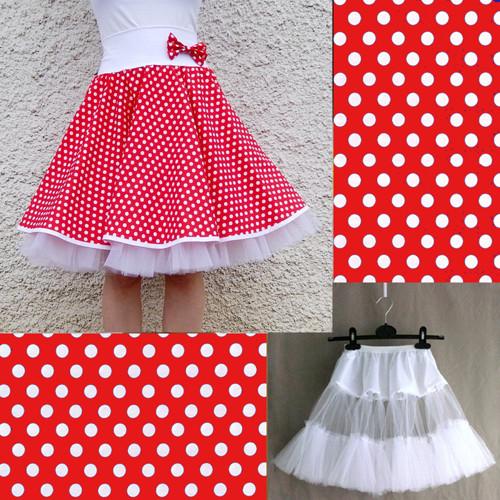 Červená puntík. sukně+jednoduchá bílá spodnička