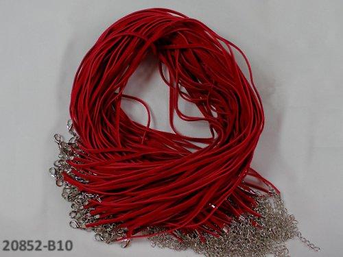 20852-B10 Semišová šňůrka s karabinkou ČERVENÁ,1ks