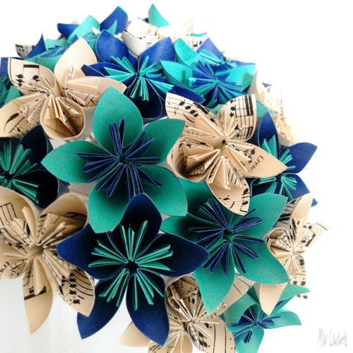 Origami papírová kytice notová, mint a námořnická