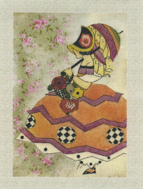 bavlněná látka - panel  12 x 17,5 cm