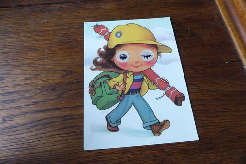 Lyžařka...mrkací pohlednice