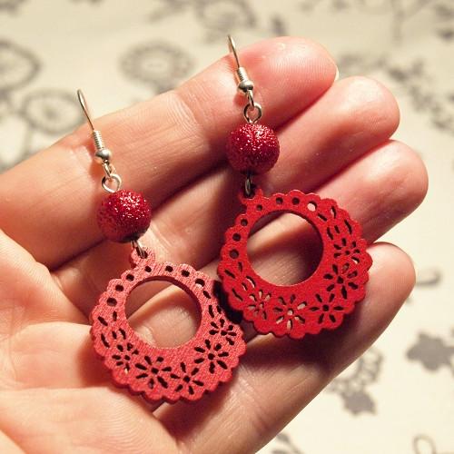 Náušnice - Dřevěné červené