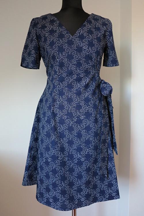 šaty modrotiskové, zavinovací vel 38/M
