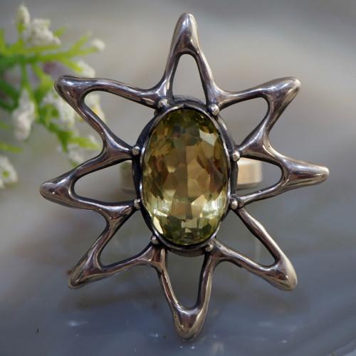 """Prsten \""""Slunce\""""- citrín, stříbro 925"""