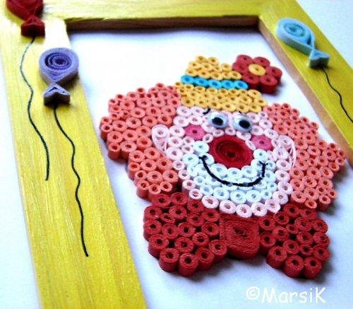 Dětský obrázek s klaunem a balónky SLEVA