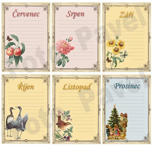 Vintage kartičky (journaling) - měsíc (7-12)