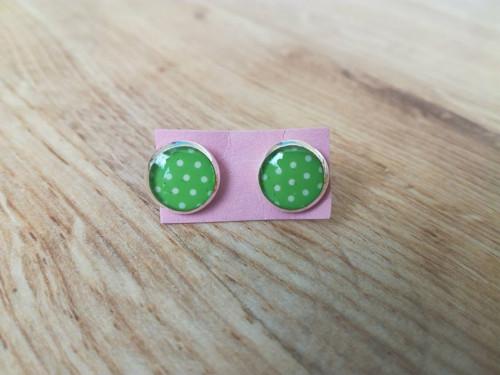 Puntíky v zelené - puzetky -  II. jakost