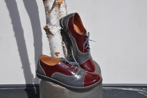 Kožené boty Chicago gray and burgundy vel.38!