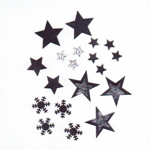 Hvězdičky + vločky v plastovém boxu - stříbrné