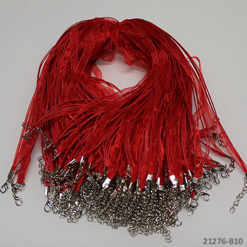 21276-B10 Organza šňůrka voskovaná 7mm červená,1ks